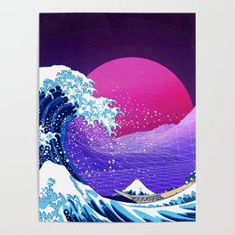 Synthwave Space: The Great Wave off Kanagawa #2 Poster