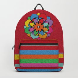 Happy Colorful Mandala Flower Illustration Backpack