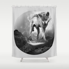 Galactic Wolf Shower Curtain
