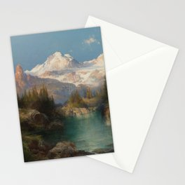Snow-capped Rocky Mountains landscape painting by Thomas Moran Stationery Cards