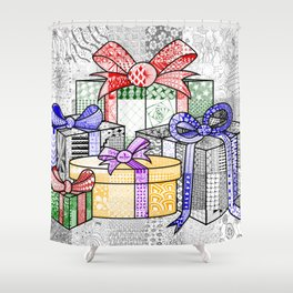 Coloured Christmas Presents Shower Curtain