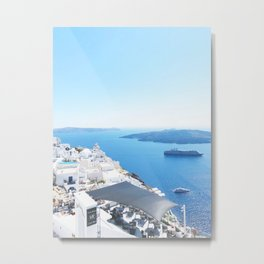 238. Welcome in Santorini, Greece Metal Print