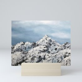 Snowy mountain, winter scene by Luna Smith, original oil painting Mini Art Print