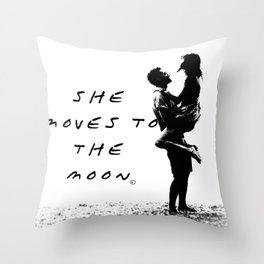 She moves to the Moon Throw Pillow