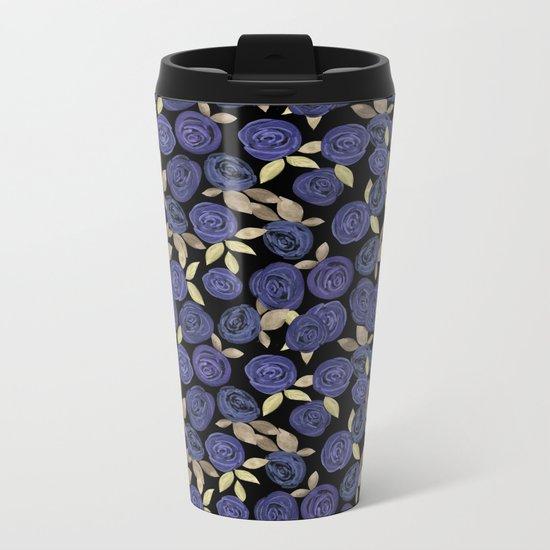 Blue watercolor roses on a black background . Metal Travel Mug