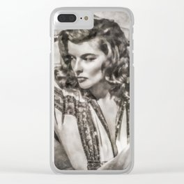 Katherine Hepburn, Vintage Actress Clear iPhone Case