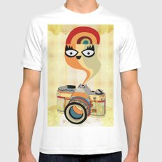 camera spirit SMALL White Mens Fitted Tee