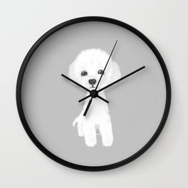 poodle white Wall Clock