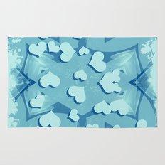 Grunge floating hearts in blue Rug