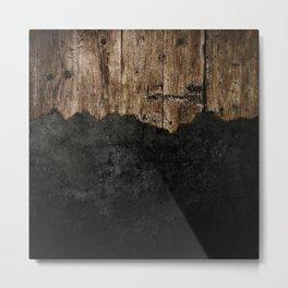Black Grunge & wood pattern Metal Print