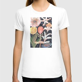 Mixed Flowers with Tulip on Black T-shirt