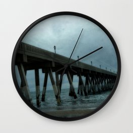 Surreal Haunting Coastal Blue Ocean Fishing Pier Wall Clock