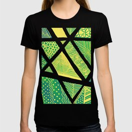 Geometric doodle pattern - green and yellow T-shirt
