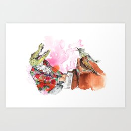 Piano Playing Alligator in a Floral Blazer, with Backup Singing Birds Art Print