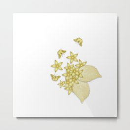 Elegant gold butterflies and gold flowers Metal Print