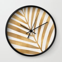 Metallic Gold Palm Leaf Wall Clock