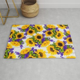 Rustic white wood purple yellow sunflower floral Rug