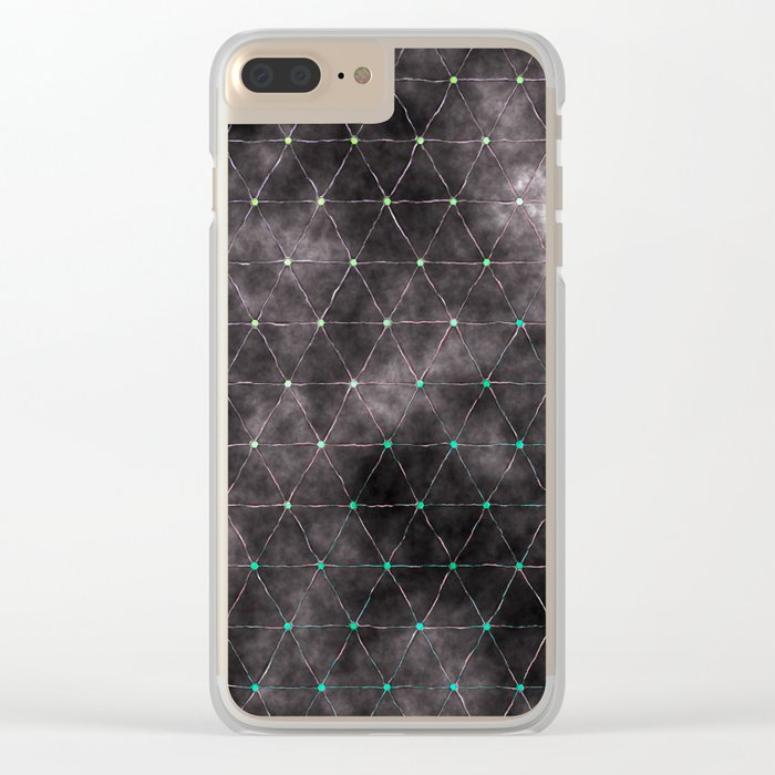 Galaxy - modern abstract dark grunge triangles pattern Clear iPhone Case