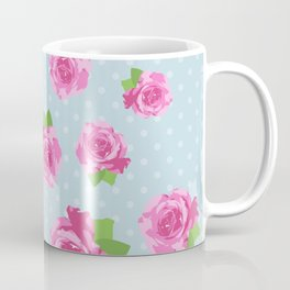 Shabby Chic, Polka Dots, Roses - Pink Green Blue Coffee Mug
