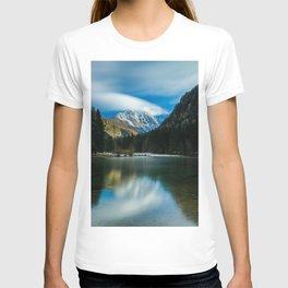 Beautiful lake with mountains in background in Zgornje Jezersko T-shirt
