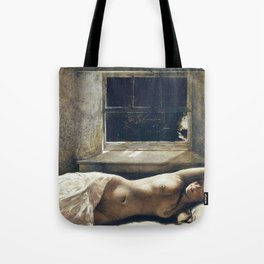 'Overflow,' Female Nude Portrait painting by Andrew Wyeth Tote Bag