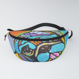 Pooped Pug Dog Puppy Designer Series Bright Colorful Fun Art Design Bulldog Breeds Fanny Pack