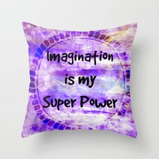 IMAGINATION IS MY SUPER POWER Inspirational Fine Art Painting Typography Lavender Purple Clouds Throw Pillow