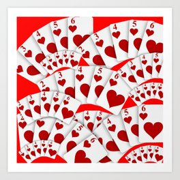 "DECORATIVE RED ""ROYAL FLUSH"" IN RED HEARTS SUIT Art Print"