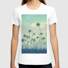 Whimsical Indigo Dandelion Flower Garden T-shirt