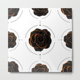 Black Rose Pattern - Black And Gold Rose - Death - Minimal Black And Gold Decor - Dark 3 Metal Print