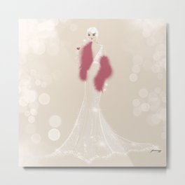 Burlesque Wedding's Bride  with Glass of Wine Metal Print