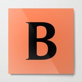 B MONOGRAM (BLACK & CORAL) Metal Print