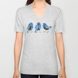 Blue Finches Unisex V-Neck