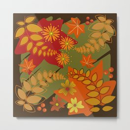 Decorative Autumn leaves, flowers and berries Metal Print