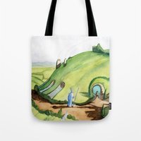 the hobbit Tote Bags featuring The Hobbit by Emily