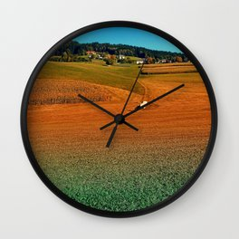 Colorful farmland scenery   landscape photography Wall Clock