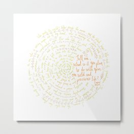 Summer Day (Mary Oliver) - Yellow Metal Print