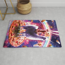 Laser Eyes Outer Space Cat Riding On Llama Unicorn Rug