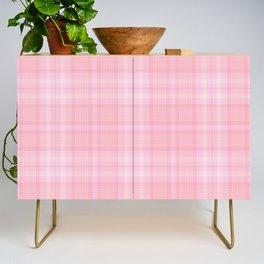 Pink Blush Plaid Pattern Credenza