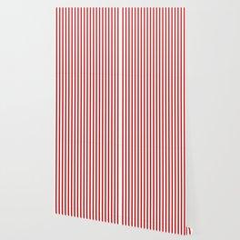 Red & White Vertical Stripes Wallpaper