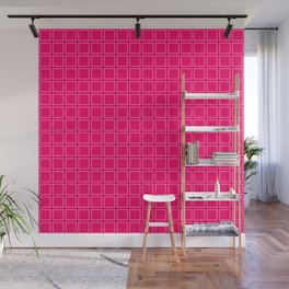 Hot Pink Neon Background with White Square Pattern Print Wall Mural