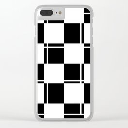 Black and white squares, crosses and lines Clear iPhone Case