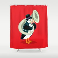 puffin Shower Curtains featuring Puffin On A Tuba by Oliver Lake