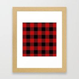 Western Country Woodland Christmas Cottage Primitive lumberjack Buffalo Plaid Framed Art Print