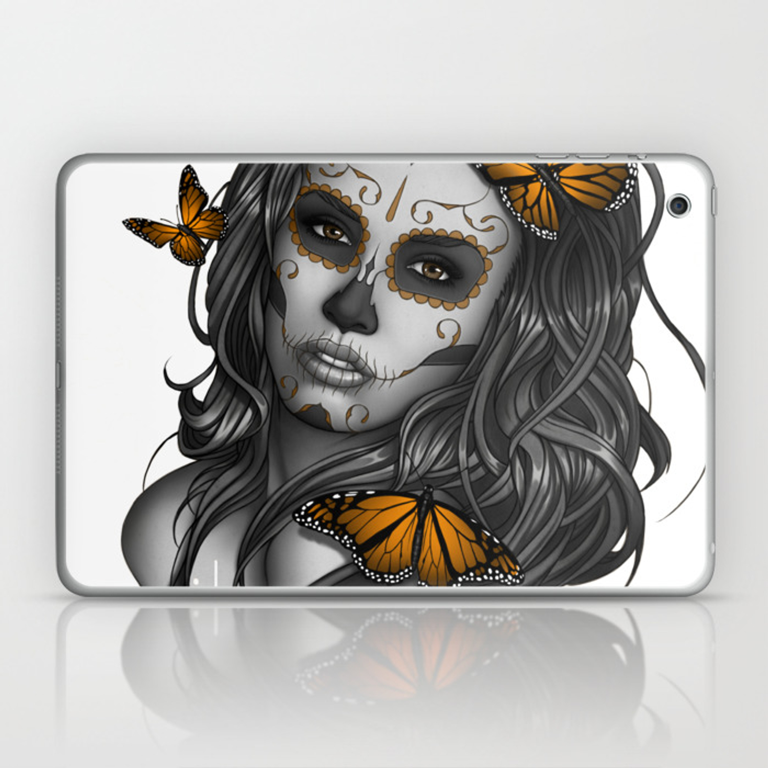 18c354940916b Sugar Skull Tattoo Girl with Butterflies Laptop & iPad Skin by ...