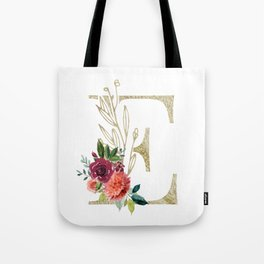 Gold Foil Monogram Letter E with watercolor flowers Tote Bag
