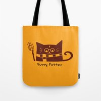 potter Tote Bags featuring Furry Potter  by MerryLittleDoodle