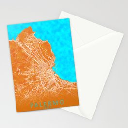 Palermo, Italy, Gold, Blue, City, Map Stationery Cards