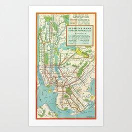 Vintage Map - Rapid Transit Map of New York City (1939) Art Print
