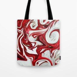 Red abstract liquid shapes Tote Bag